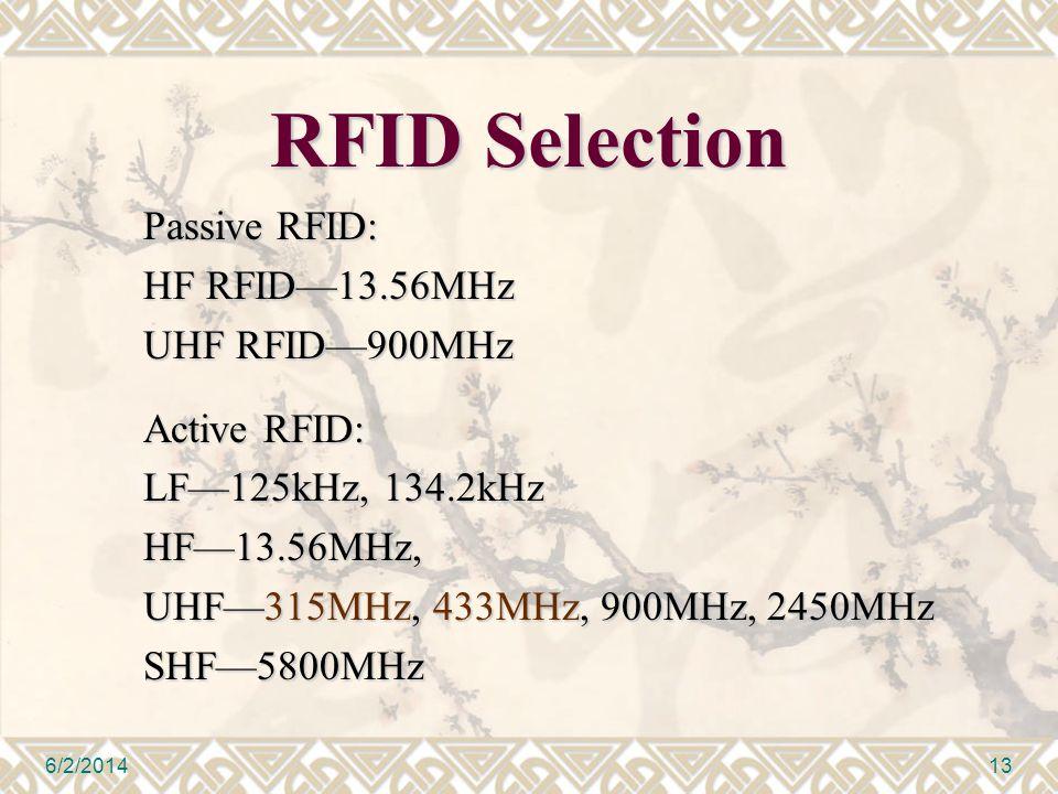 RFID Selection Passive RFID: HF RFID13.56MHz UHF RFID900MHz Active RFID: LF125kHz, 134.2kHz HF13.56MHz, UHF315MHz, 433MHz, 900MHz, 2450MHz SHF5800MHz 6/2/201413