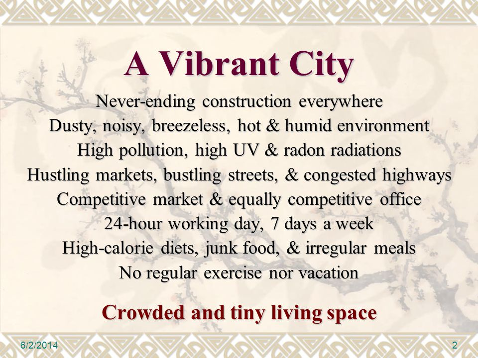 A Vibrant City Never-ending construction everywhere Dusty, noisy, breezeless, hot & humid environment High pollution, high UV & radon radiations Hustl
