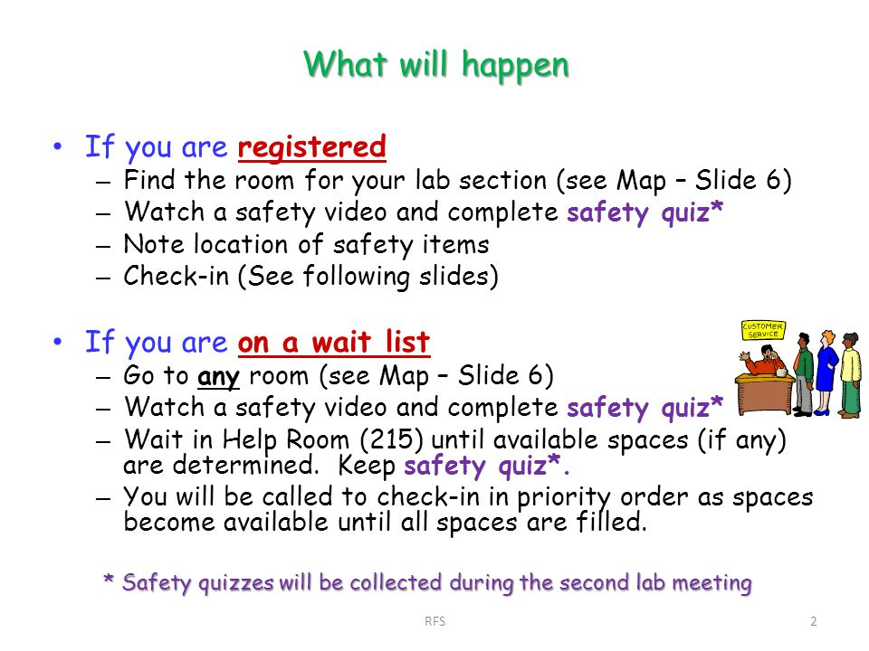 What will happen If you are registered – Find the room for your lab section (see Map – Slide 6) – Watch a safety video and complete safety quiz* – Not