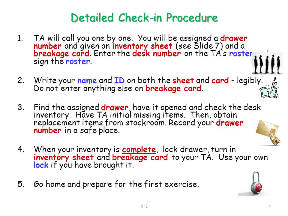 Detailed Check-in Procedure 1.TA will call you one by one.