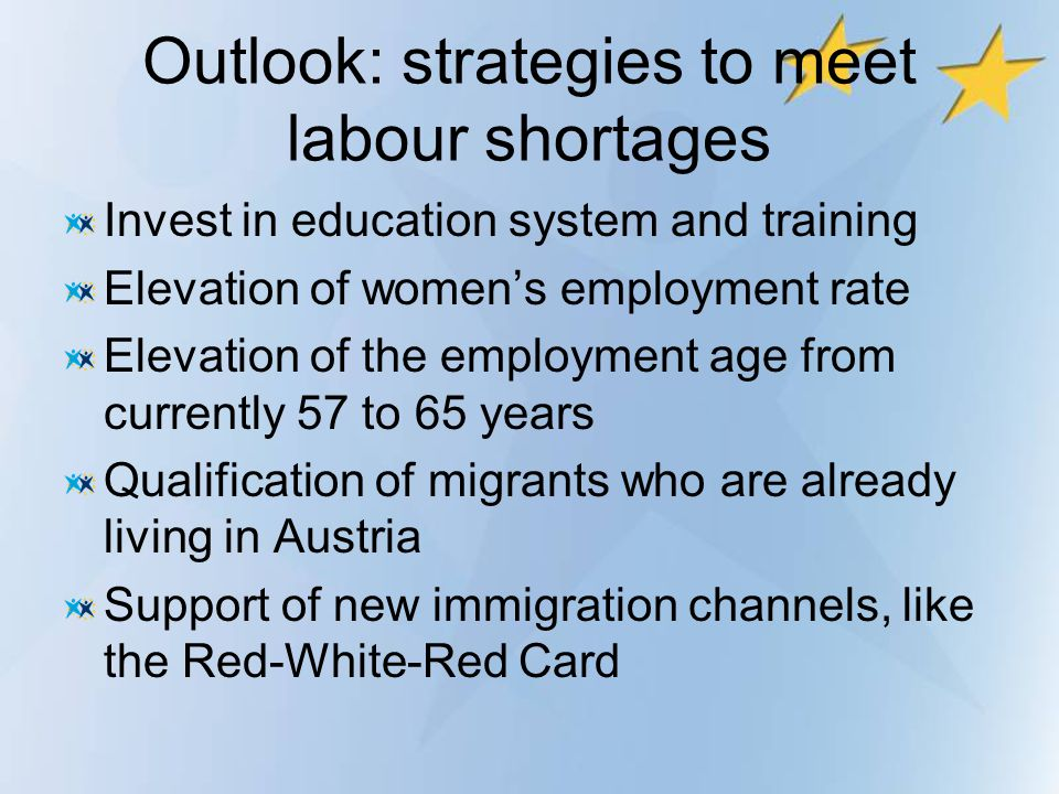 Outlook: strategies to meet labour shortages Invest in education system and training Elevation of womens employment rate Elevation of the employment a