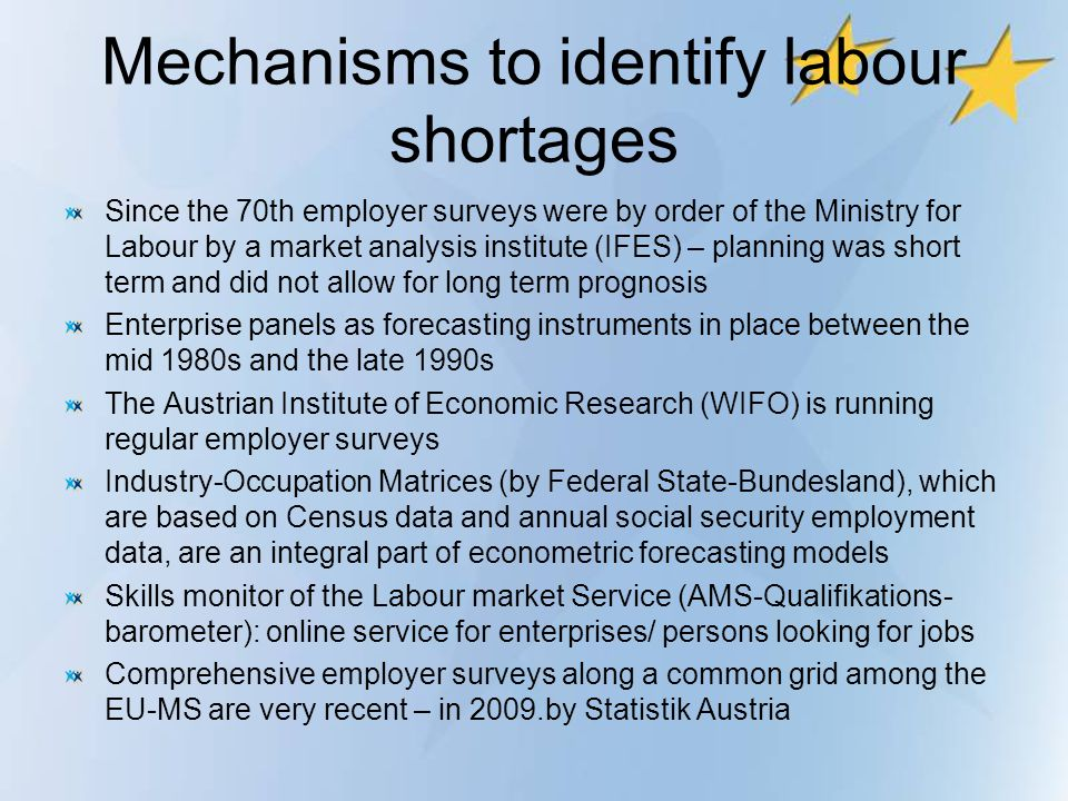 Mechanisms to identify labour shortages Since the 70th employer surveys were by order of the Ministry for Labour by a market analysis institute (IFES)