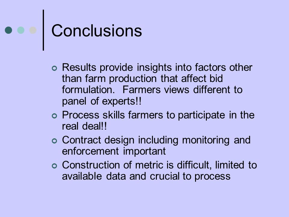 Conclusions Results provide insights into factors other than farm production that affect bid formulation.