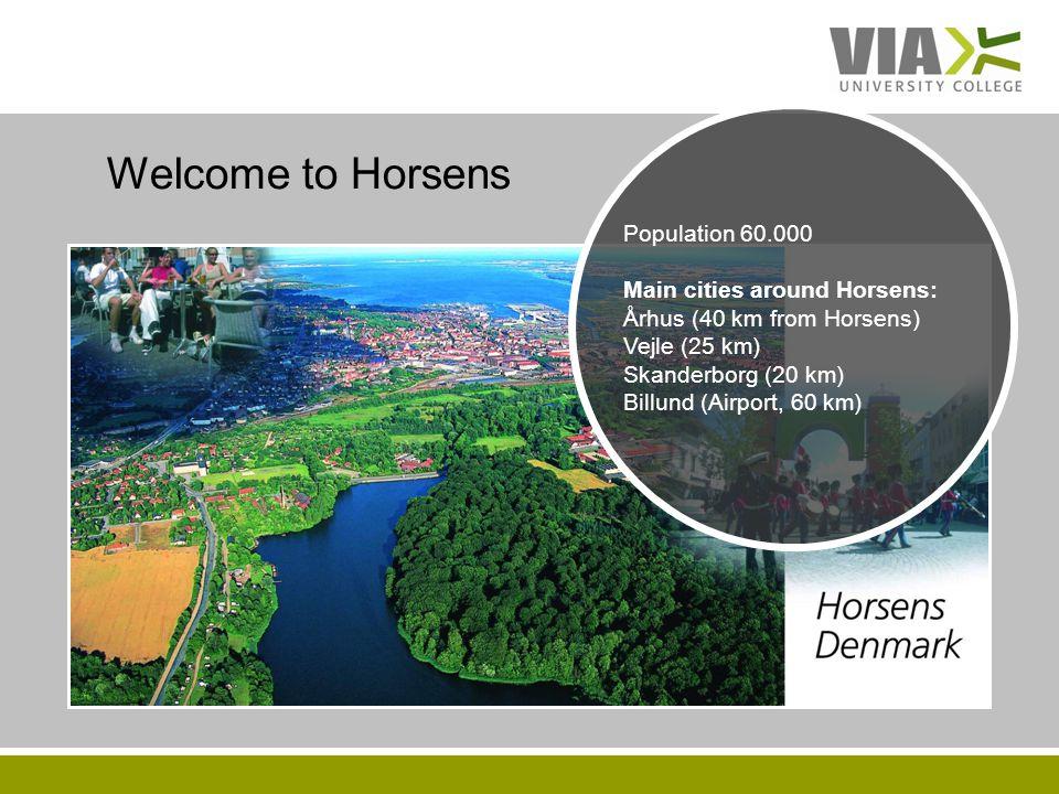 VIAUC.DK Welcome to Horsens Population 60.000 Main cities around Horsens: Århus (40 km from Horsens) Vejle (25 km) Skanderborg (20 km) Billund (Airport, 60 km)