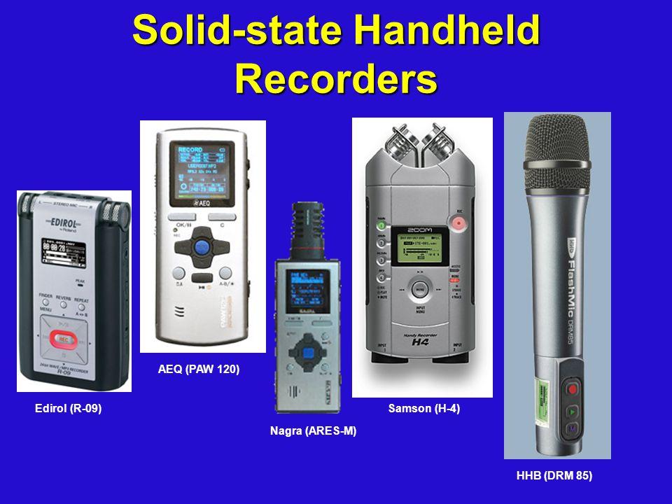 Solid-state Handheld Recorders Edirol (R-09) AEQ (PAW 120) Nagra (ARES-M) Samson (H-4) HHB (DRM 85)