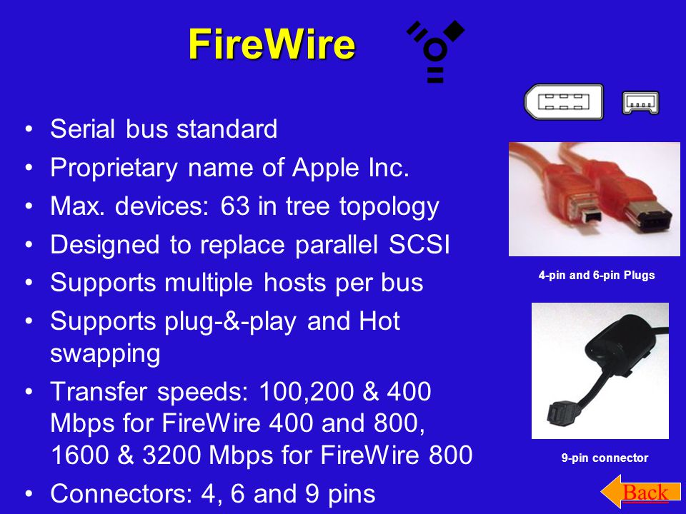 FireWire Serial bus standard Proprietary name of Apple Inc. Max. devices: 63 in tree topology Designed to replace parallel SCSI Supports multiple host