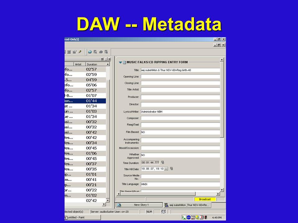 DAW -- Metadata