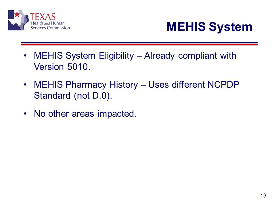 13 MEHIS System MEHIS System Eligibility – Already compliant with Version 5010. MEHIS Pharmacy History – Uses different NCPDP Standard (not D.0). No o