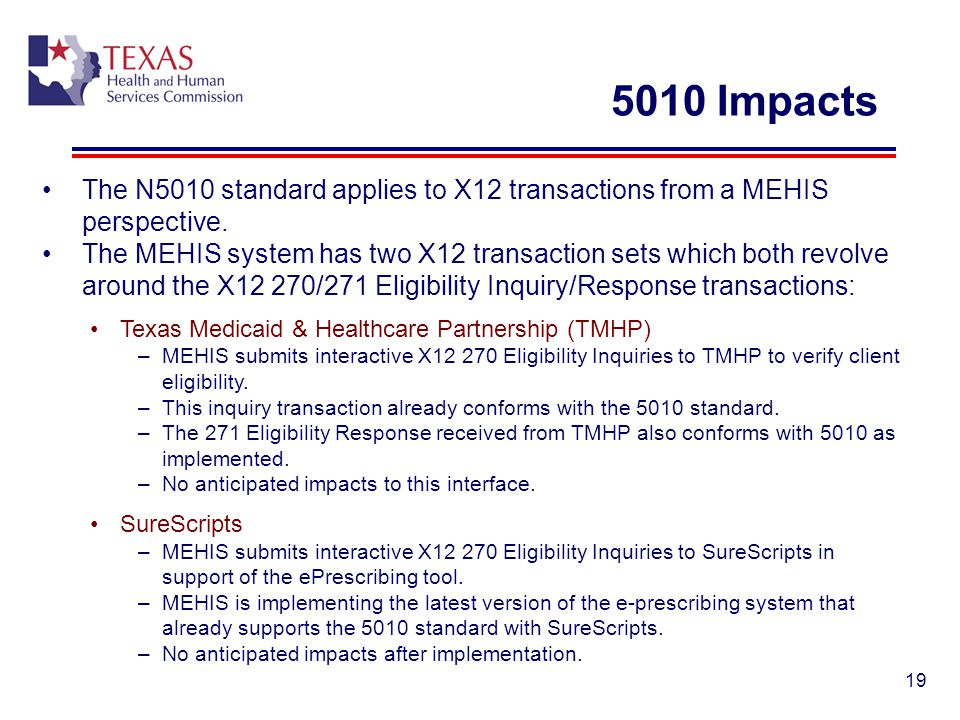 5010 Impacts The N5010 standard applies to X12 transactions from a MEHIS perspective. The MEHIS system has two X12 transaction sets which both revolve