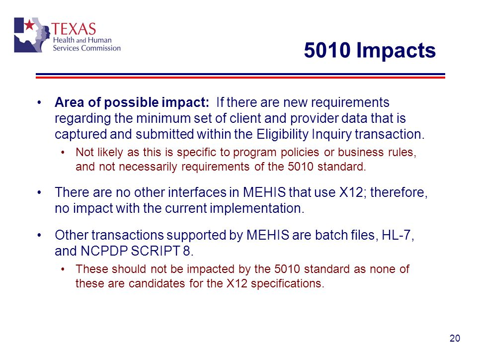 5010 Impacts Area of possible impact: If there are new requirements regarding the minimum set of client and provider data that is captured and submitt