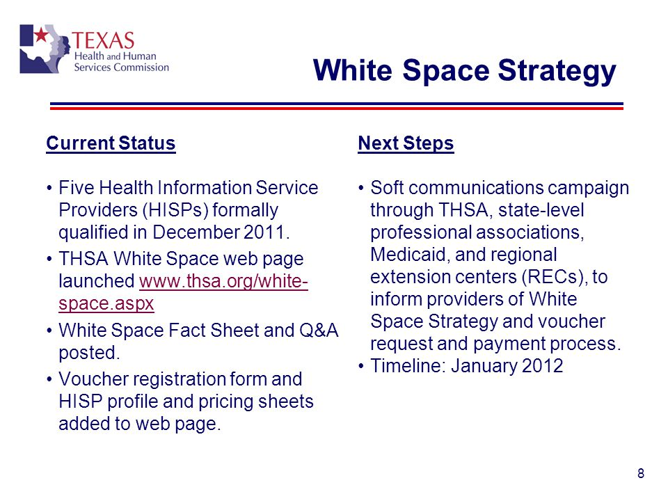 White Space Strategy 8 Current Status Five Health Information Service Providers (HISPs) formally qualified in December 2011. THSA White Space web page