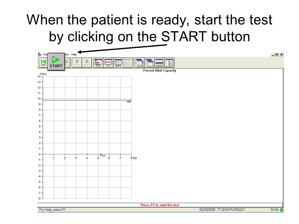 When the patient is ready, start the test by clicking on the START button