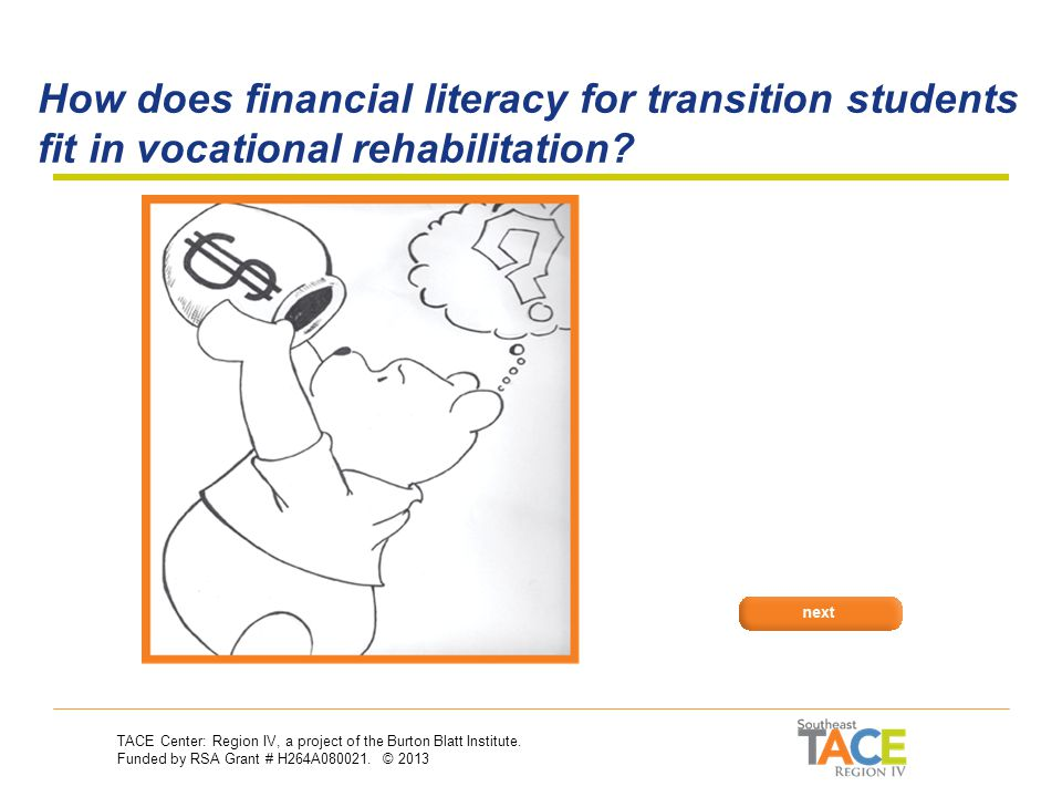 Asset Development: Financial Literacy and Transition Asset Development & Vocational Rehabilitation 30-Second Training Series