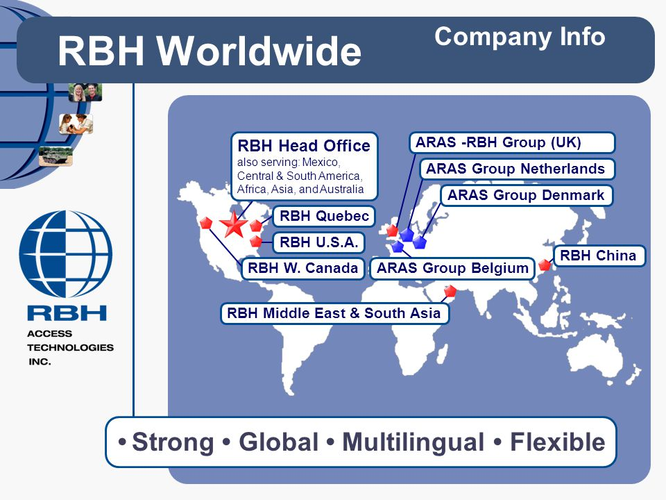 Strong Global Multilingual Flexible RBH Worldwide Company Info RBH Quebec RBH W. Canada RBH U.S.A. RBH Head Office also serving: Mexico, Central & Sou