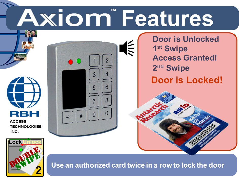 Door is Locked! Use an authorized card twice in a row to lock the door Access Granted! 1 st Swipe 2 nd Swipe Features Door is Unlocked