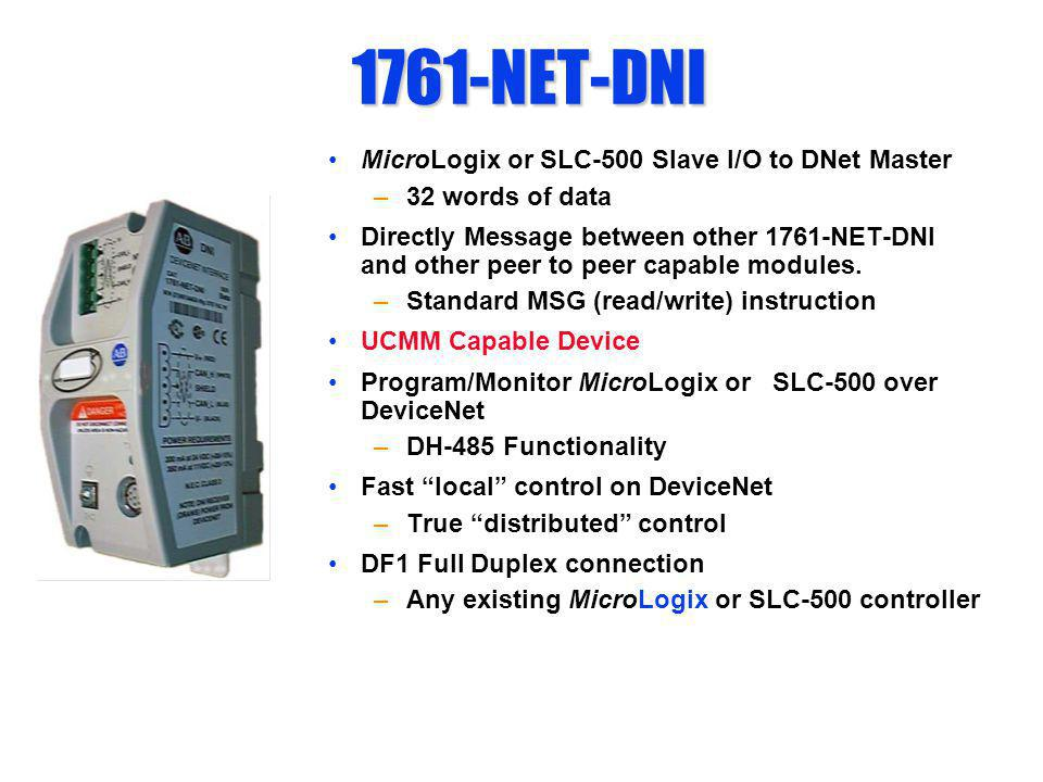 1761-NET-DNI MicroLogix or SLC-500 Slave I/O to DNet Master –32 words of data Directly Message between other 1761-NET-DNI and other peer to peer capab