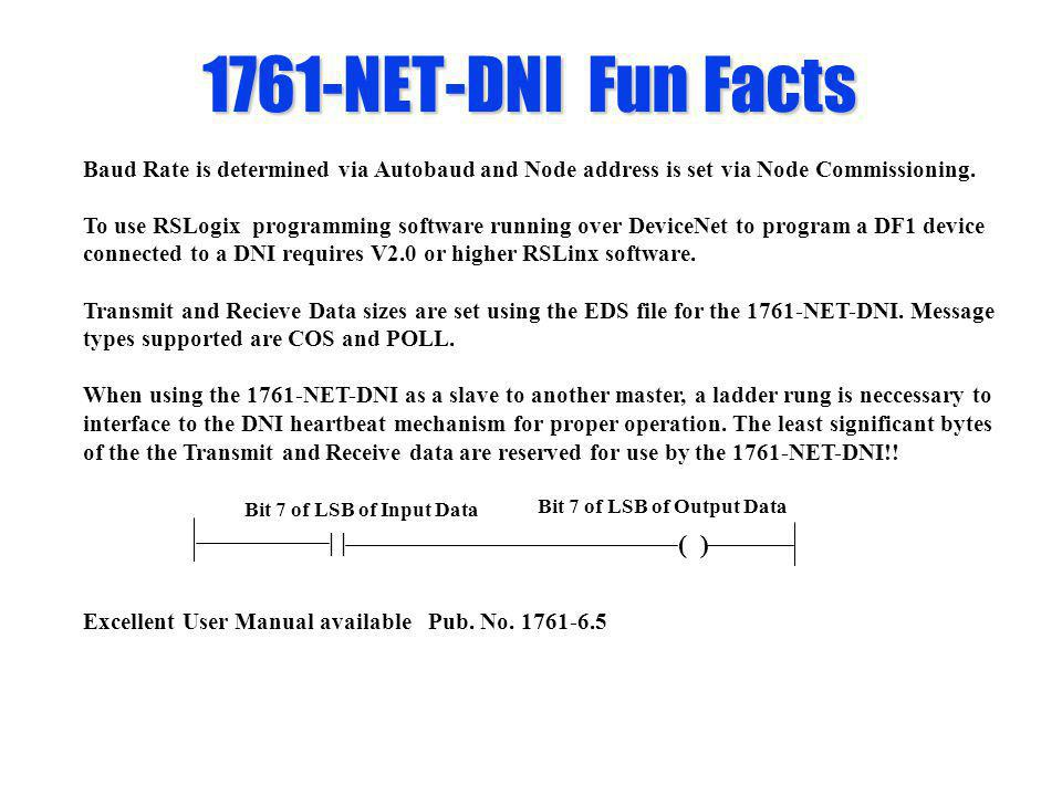1761-NET-DNI Fun Facts | ( ) Bit 7 of LSB of Input Data Bit 7 of LSB of Output Data Baud Rate is determined via Autobaud and Node address is set via N
