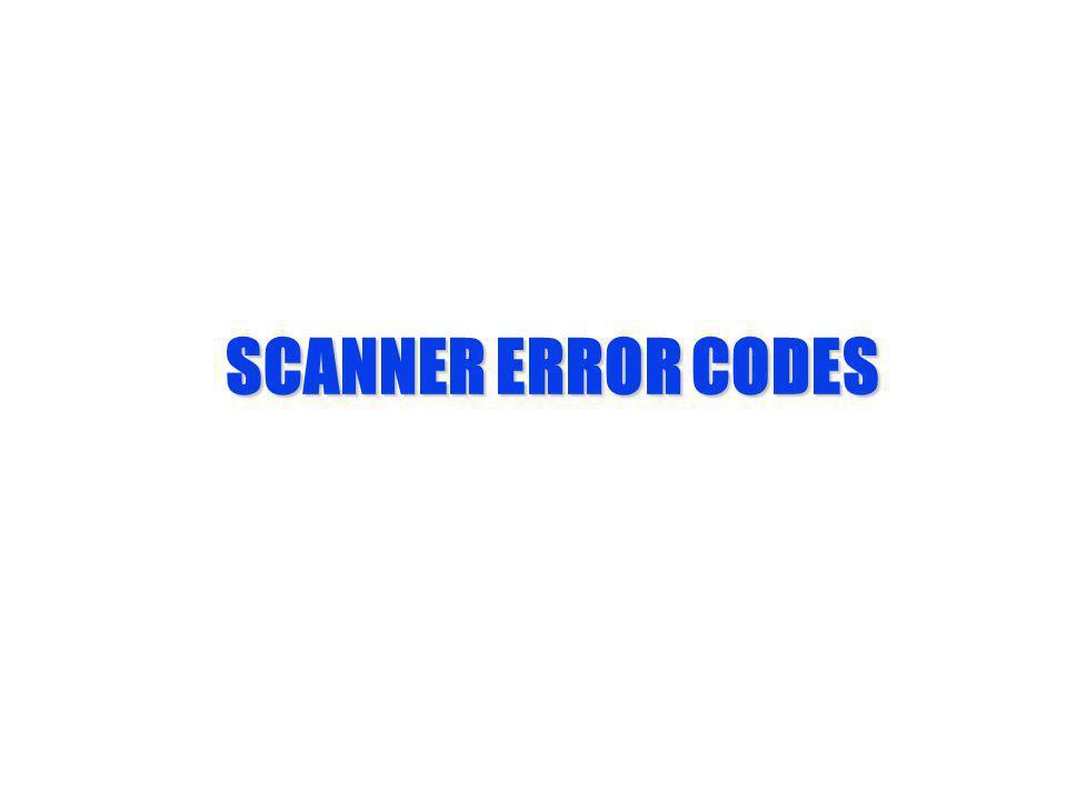 SCANNER ERROR CODES