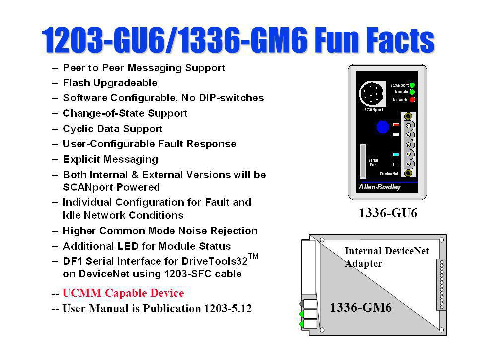 1203-GU6/1336-GM6 Fun Facts Internal DeviceNet Adapter 1336-GM6 -- UCMM Capable Device -- User Manual is Publication 1203-5.12 1336-GU6