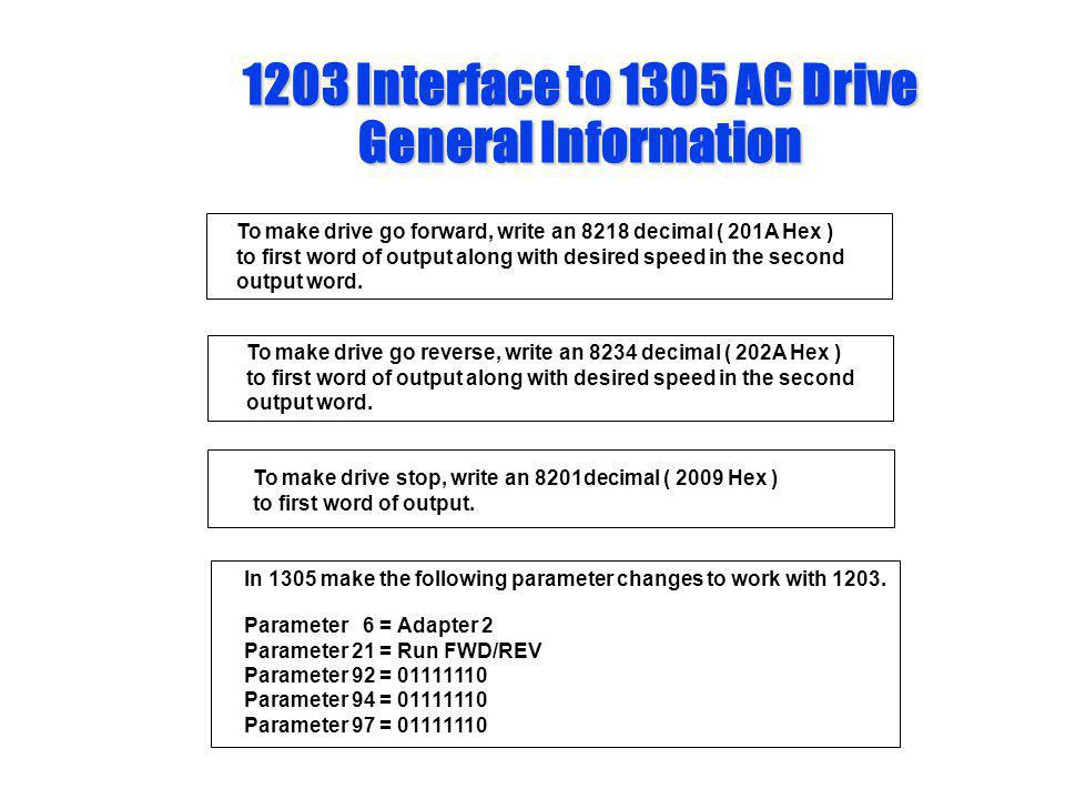 1203 Interface to 1305 AC Drive General Information To make drive go forward, write an 8218 decimal ( 201A Hex ) to first word of output along with de