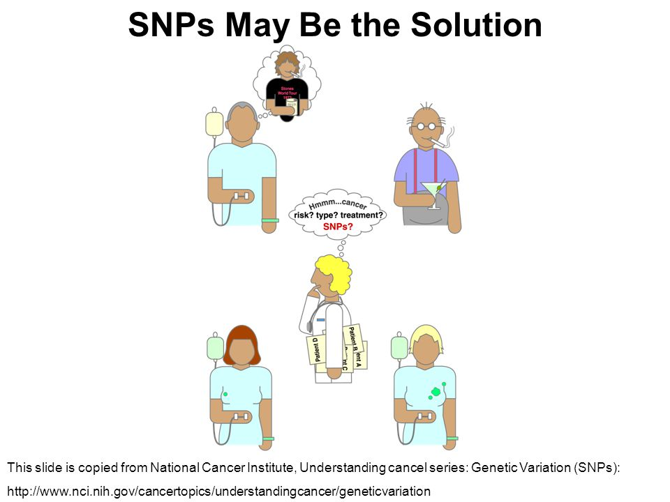 SNPs ASNPs B SNPs CSNPs D SNPs May Be the Solution This slide is copied from National Cancer Institute, Understanding cancel series: Genetic Variation (SNPs): http://www.nci.nih.gov/cancertopics/understandingcancer/geneticvariation