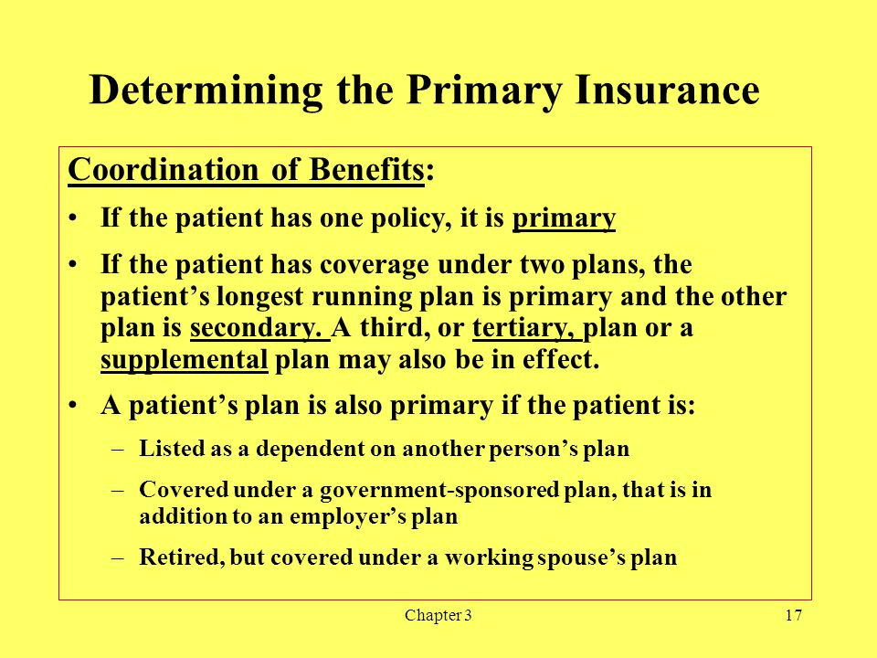 Chapter 317 Determining the Primary Insurance Coordination of Benefits: If the patient has one policy, it is primary If the patient has coverage under