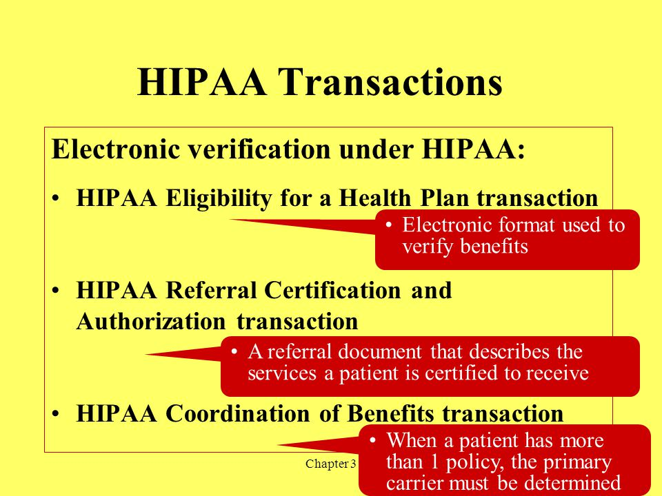 Chapter 319 HIPAA Transactions Electronic verification under HIPAA: HIPAA Eligibility for a Health Plan transaction HIPAA Referral Certification and A