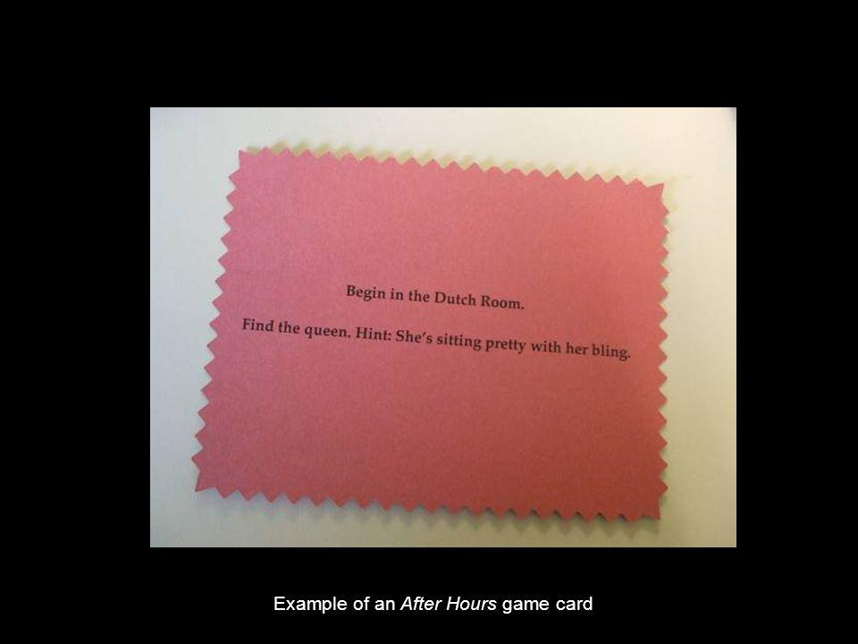 Example of an After Hours game card