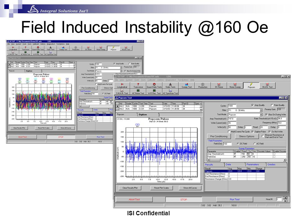 ISI Confidential Field Induced Instability @160 Oe