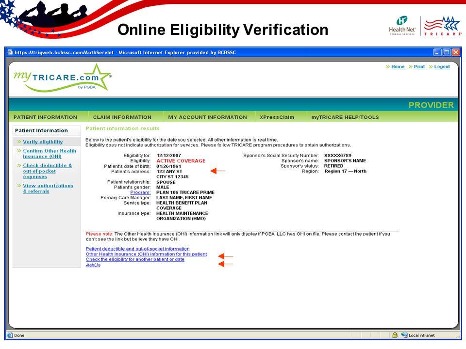 Online Eligibility Verification