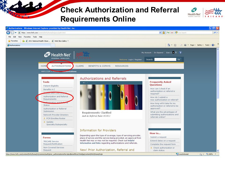 Check Authorization and Referral Requirements Online