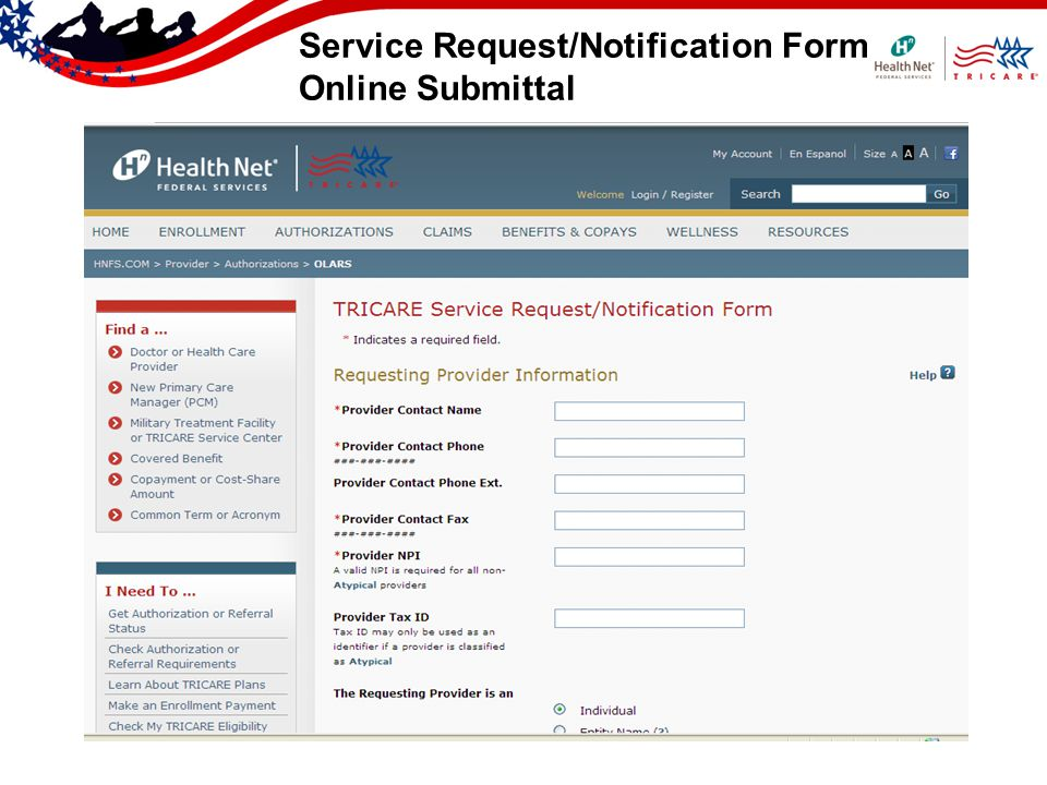 Service Request/Notification Form Online Submittal