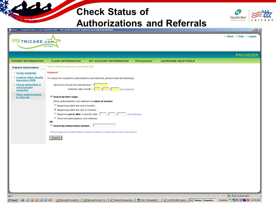 Check Status of Authorizations and Referrals