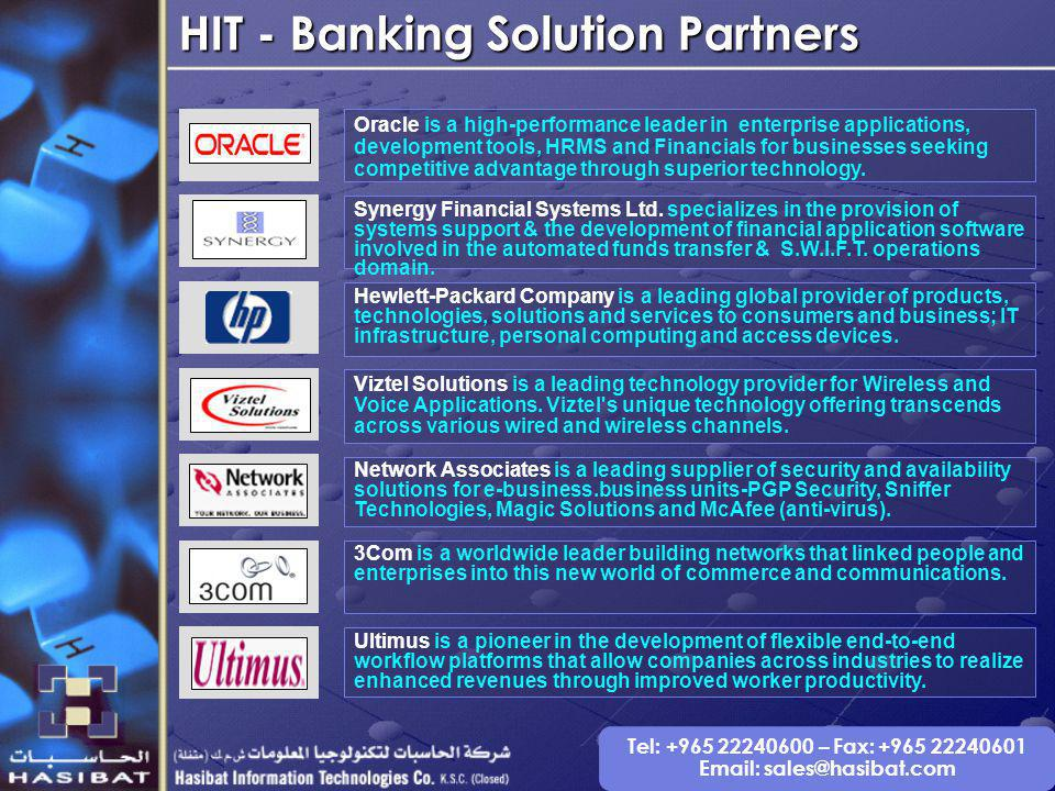 Tel: +965 22240600 – Fax: +965 22240601 Email: sales@hasibat.com Synergy Financial Systems Ltd.