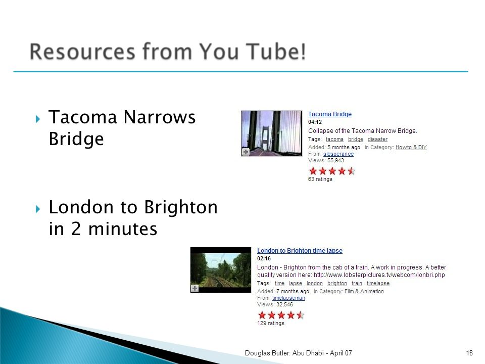 Tacoma Narrows Bridge London to Brighton in 2 minutes 18Douglas Butler: Abu Dhabi - April 07