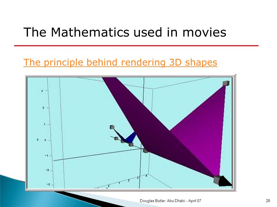 The principle behind rendering 3D shapes The Mathematics used in movies 28Douglas Butler: Abu Dhabi - April 07