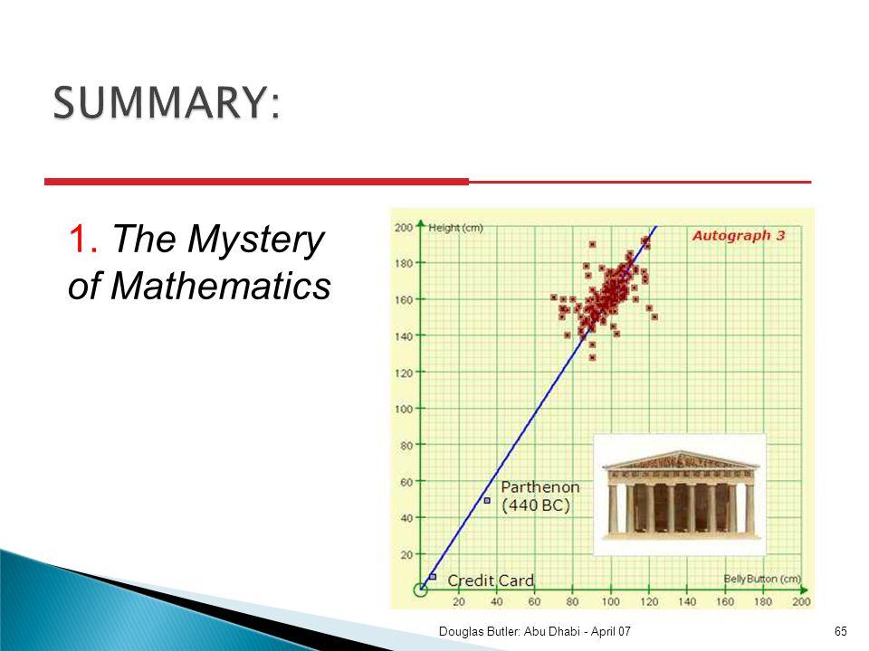 1. The Mystery of Mathematics 65Douglas Butler: Abu Dhabi - April 07