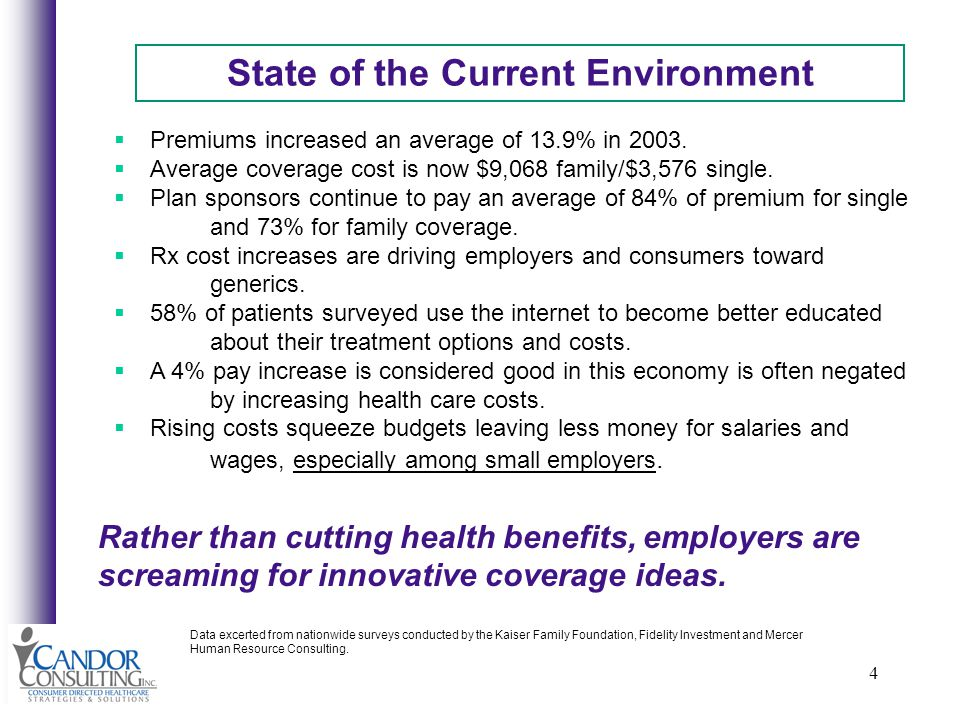 4 State of the Current Environment Premiums increased an average of 13.9% in 2003.