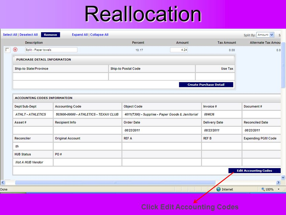 Reallocation Click Edit Accounting Codes