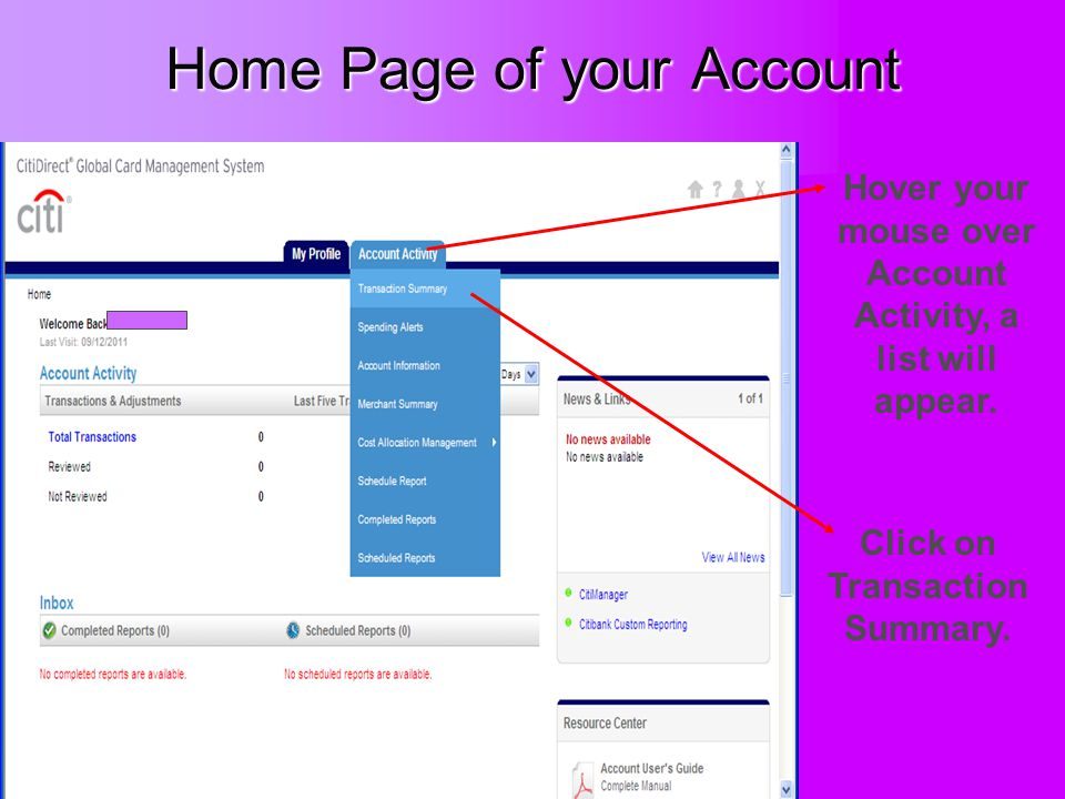 Home Page of your Account Hover your mouse over Account Activity, a list will appear. Click on Transaction Summary.