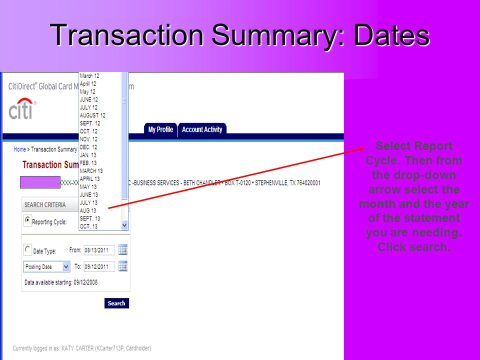 Transaction Summary: Dates Select Report Cycle.