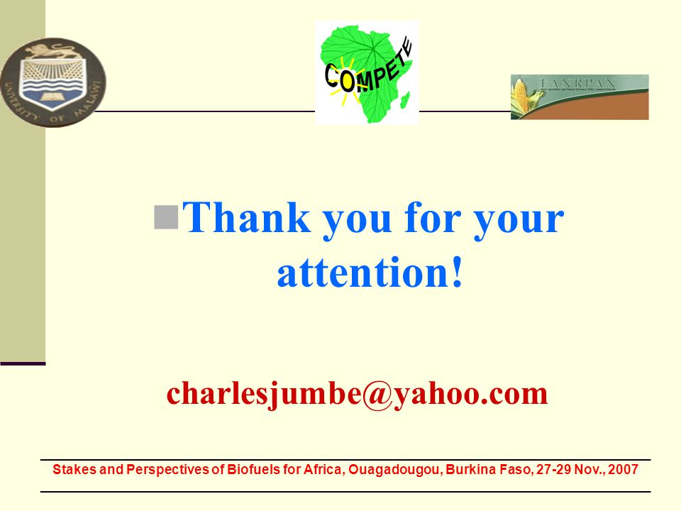 Thank you for your attention! charlesjumbe@yahoo.com ___________________________________________________________________________________ Stakes and Pe