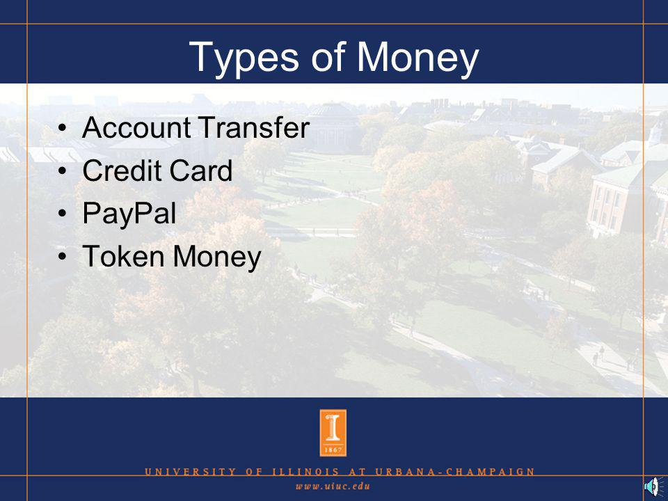 Types of Transactions Money for Electronic Goods Money for non-Electronic Goods Money for Transferred goods Money changing Accounts + auctions + time