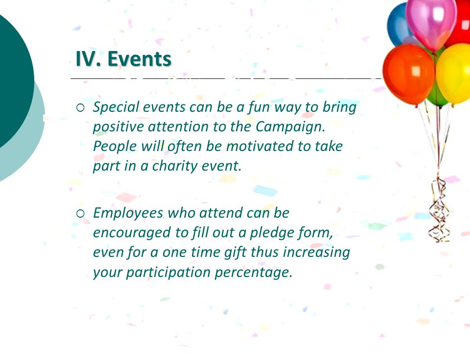 IV. Events Special events can be a fun way to bring positive attention to the Campaign.