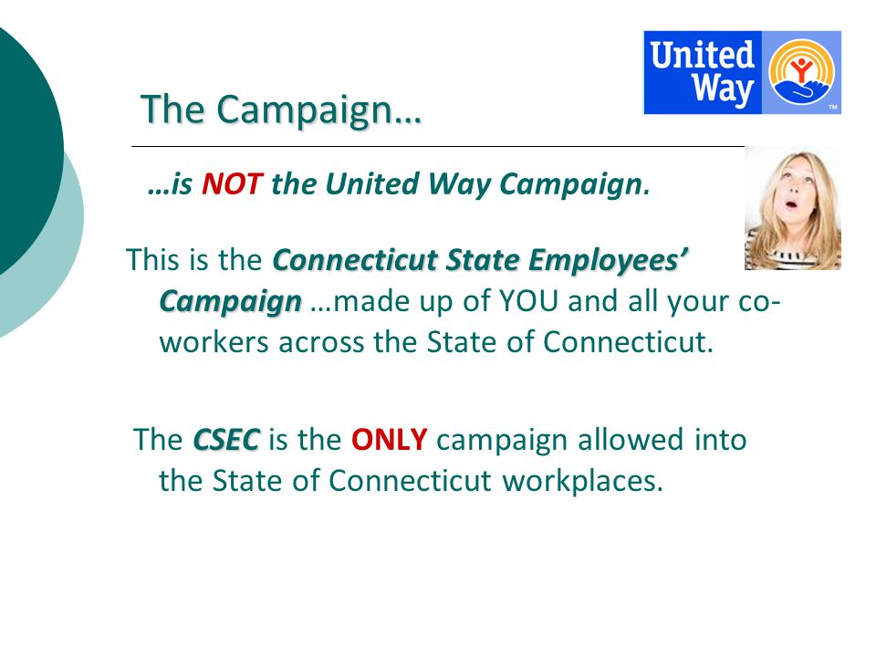 The Campaign… Connecticut State Employees Campaign This is the Connecticut State Employees Campaign …made up of YOU and all your co- workers across th