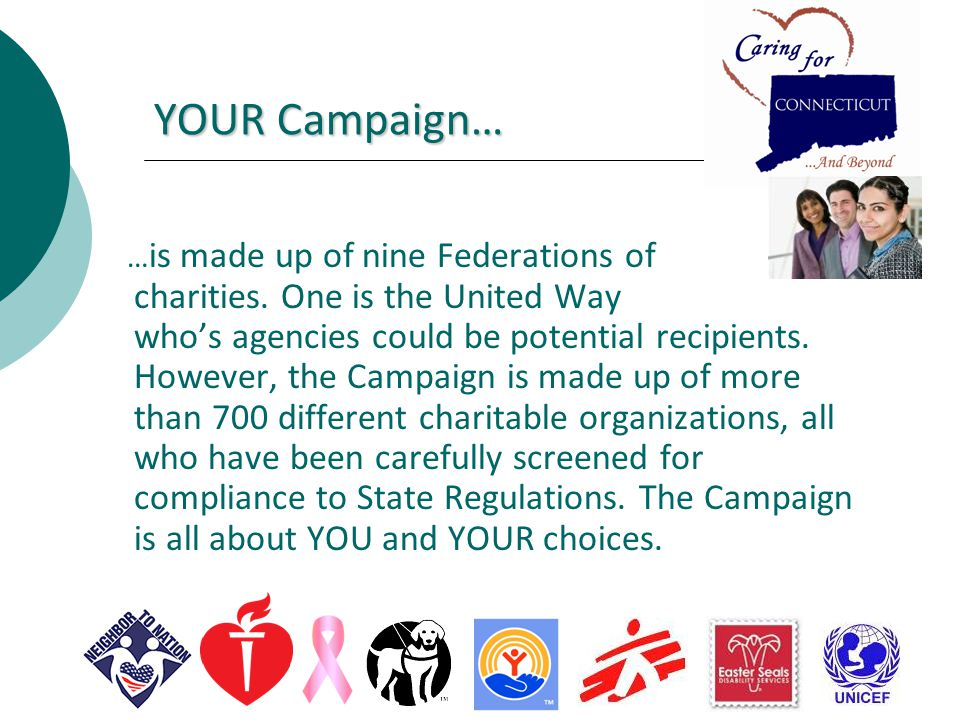 YOUR Campaign… … is made up of nine Federations of charities.