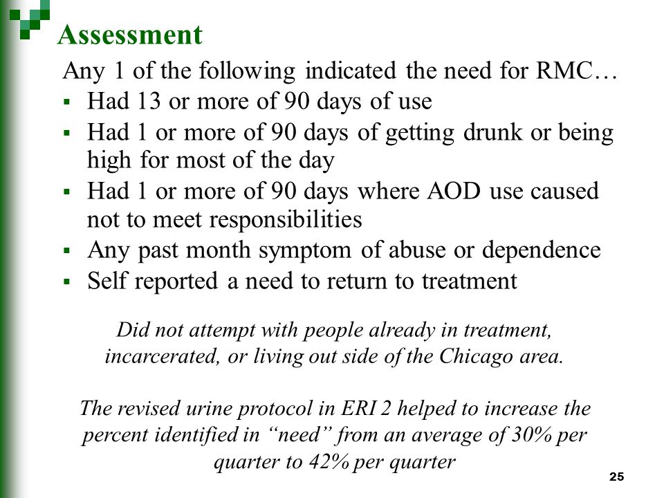 25 Assessment Any 1 of the following indicated the need for RMC… Had 13 or more of 90 days of use Had 1 or more of 90 days of getting drunk or being high for most of the day Had 1 or more of 90 days where AOD use caused not to meet responsibilities Any past month symptom of abuse or dependence Self reported a need to return to treatment Did not attempt with people already in treatment, incarcerated, or living out side of the Chicago area.