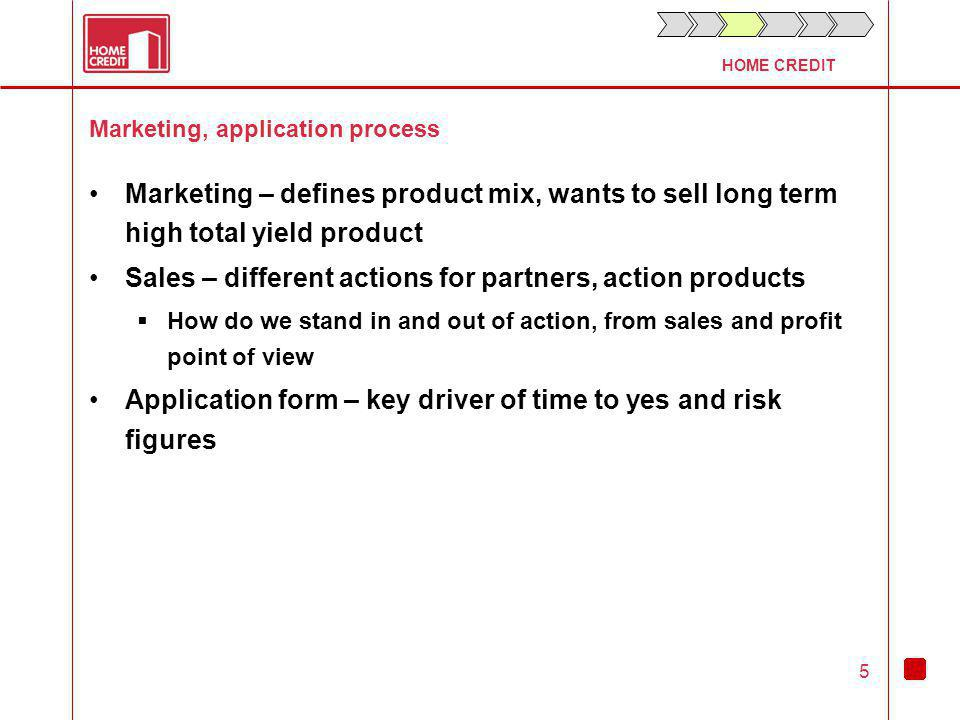 HOME CREDIT 5 Marketing, application process Marketing – defines product mix, wants to sell long term high total yield product Sales – different actions for partners, action products How do we stand in and out of action, from sales and profit point of view Application form – key driver of time to yes and risk figures