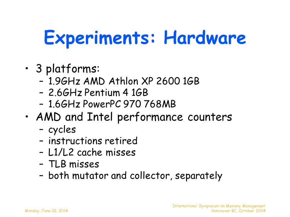 Monday, June 02, 2014 International Symposium on Memory Management Vancouver BC, October 2004 Intel P4 2.6GHz Write Barrier L1 Misses