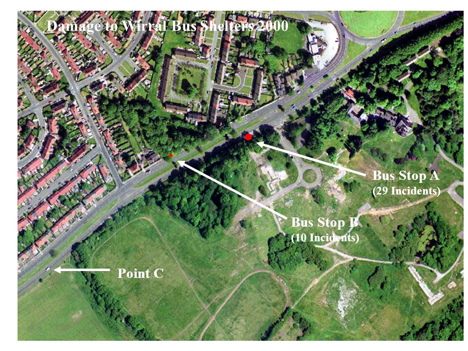 Dr.Andrew Newton, ECRU Bus Stop A (29 Incidents) Bus Stop B (10 Incidents) Point C Damage to Wirral Bus Shelters 2000
